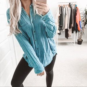 Free People Oversized Turn It Around Chambray Top